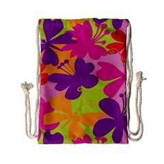 Butterfly Animals Rainbow Color Purple Pink Green Yellow Drawstring Bag (small) by Alisyart