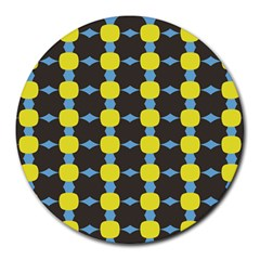 Blue Black Yellow Plaid Star Wave Chevron Round Mousepads by Alisyart