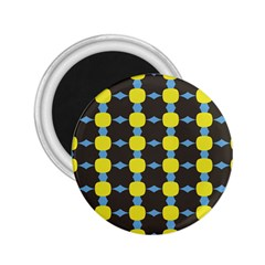 Blue Black Yellow Plaid Star Wave Chevron 2 25  Magnets by Alisyart
