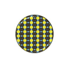 Blue Black Yellow Plaid Star Wave Chevron Hat Clip Ball Marker (4 Pack)