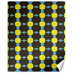 Blue Black Yellow Plaid Star Wave Chevron Canvas 16  X 20   by Alisyart