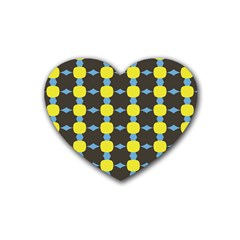 Blue Black Yellow Plaid Star Wave Chevron Rubber Coaster (heart)  by Alisyart