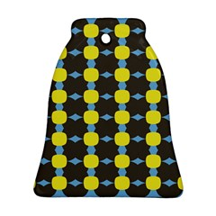 Blue Black Yellow Plaid Star Wave Chevron Bell Ornament (two Sides) by Alisyart