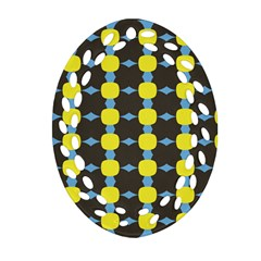 Blue Black Yellow Plaid Star Wave Chevron Oval Filigree Ornament (two Sides) by Alisyart