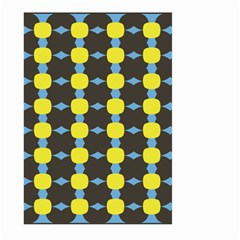 Blue Black Yellow Plaid Star Wave Chevron Large Garden Flag (two Sides) by Alisyart