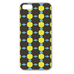 Blue Black Yellow Plaid Star Wave Chevron Apple Seamless Iphone 5 Case (clear) by Alisyart