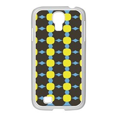 Blue Black Yellow Plaid Star Wave Chevron Samsung Galaxy S4 I9500/ I9505 Case (white)