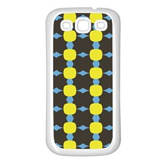 Blue Black Yellow Plaid Star Wave Chevron Samsung Galaxy S3 Back Case (white)