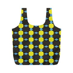 Blue Black Yellow Plaid Star Wave Chevron Full Print Recycle Bags (m)  by Alisyart