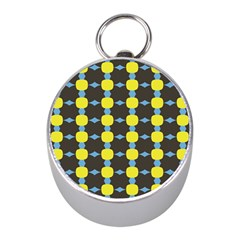 Blue Black Yellow Plaid Star Wave Chevron Mini Silver Compasses by Alisyart