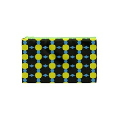 Blue Black Yellow Plaid Star Wave Chevron Cosmetic Bag (xs) by Alisyart