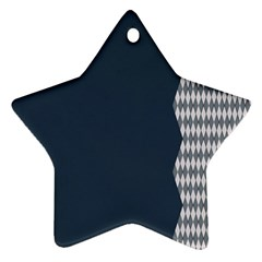 Argyle Triangle Plaid Blue Grey Ornament (star)
