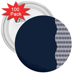 Argyle Triangle Plaid Blue Grey 3  Buttons (100 Pack)