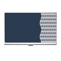 Argyle Triangle Plaid Blue Grey Business Card Holders by Alisyart