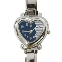 Argyle Triangle Plaid Blue Grey Heart Italian Charm Watch