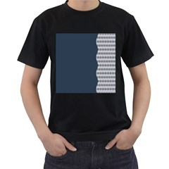 Argyle Triangle Plaid Blue Grey Men s T Shirt (black) (two Sided) by Alisyart