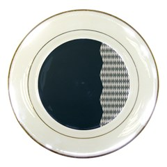 Argyle Triangle Plaid Blue Grey Porcelain Plates by Alisyart