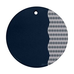 Argyle Triangle Plaid Blue Grey Round Ornament (two Sides)