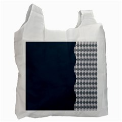 Argyle Triangle Plaid Blue Grey Recycle Bag (two Side)  by Alisyart