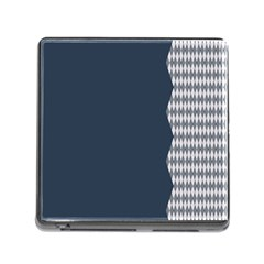 Argyle Triangle Plaid Blue Grey Memory Card Reader (square) by Alisyart