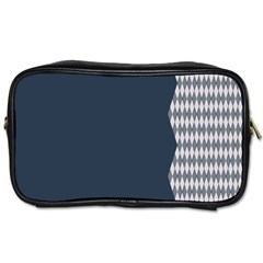 Argyle Triangle Plaid Blue Grey Toiletries Bags 2 Side