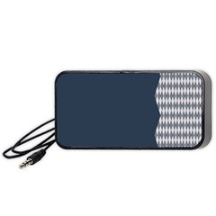 Argyle Triangle Plaid Blue Grey Portable Speaker (black) by Alisyart