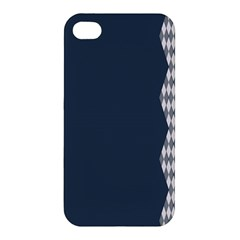 Argyle Triangle Plaid Blue Grey Apple Iphone 4/4s Hardshell Case by Alisyart
