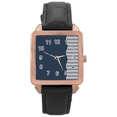 Argyle Triangle Plaid Blue Grey Rose Gold Leather Watch  by Alisyart