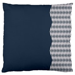 Argyle Triangle Plaid Blue Grey Large Flano Cushion Case (two Sides) by Alisyart