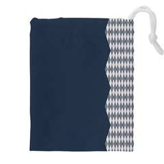 Argyle Triangle Plaid Blue Grey Drawstring Pouches (xxl) by Alisyart