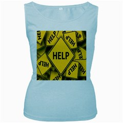 Caution Road Sign Help Cross Yellow Women s Baby Blue Tank Top by Alisyart