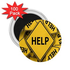 Caution Road Sign Help Cross Yellow 2 25  Magnets (100 Pack)  by Alisyart