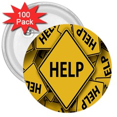 Caution Road Sign Help Cross Yellow 3  Buttons (100 Pack)  by Alisyart