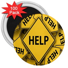 Caution Road Sign Help Cross Yellow 3  Magnets (100 Pack) by Alisyart