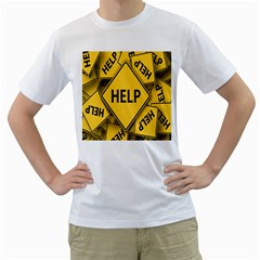 Caution Road Sign Help Cross Yellow Men s T-shirt (white) (two Sided) by Alisyart