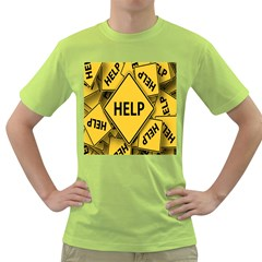 Caution Road Sign Help Cross Yellow Green T Shirt by Alisyart