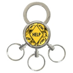Caution Road Sign Help Cross Yellow 3 Ring Key Chains