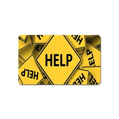 Caution Road Sign Help Cross Yellow Magnet (name Card) by Alisyart