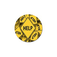 Caution Road Sign Help Cross Yellow Golf Ball Marker by Alisyart