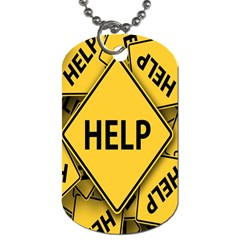 Caution Road Sign Help Cross Yellow Dog Tag (two Sides) by Alisyart