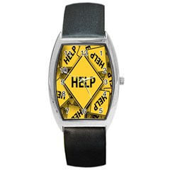 Caution Road Sign Help Cross Yellow Barrel Style Metal Watch by Alisyart