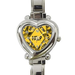 Caution Road Sign Help Cross Yellow Heart Italian Charm Watch by Alisyart