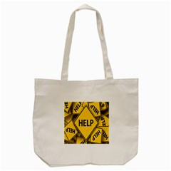 Caution Road Sign Help Cross Yellow Tote Bag (cream) by Alisyart