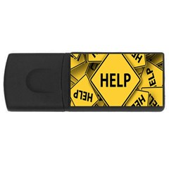 Caution Road Sign Help Cross Yellow Usb Flash Drive Rectangular (4 Gb)
