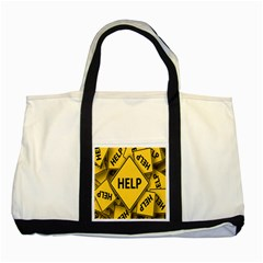 Caution Road Sign Help Cross Yellow Two Tone Tote Bag