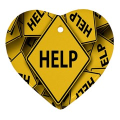 Caution Road Sign Help Cross Yellow Heart Ornament (two Sides)
