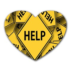 Caution Road Sign Help Cross Yellow Heart Mousepads by Alisyart