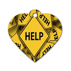 Caution Road Sign Help Cross Yellow Dog Tag Heart (one Side) by Alisyart