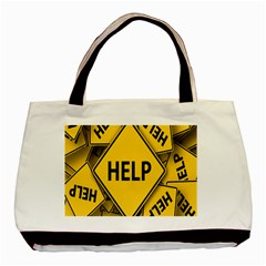 Caution Road Sign Help Cross Yellow Basic Tote Bag (two Sides) by Alisyart