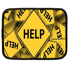 Caution Road Sign Help Cross Yellow Netbook Case (large) by Alisyart